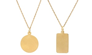 14K Gold Disc Tag Pendant Necklace by Moricci