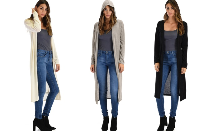 Lyss Loo Women's Long-Line Hooded Cardigan Set (3-Piece) | Groupon