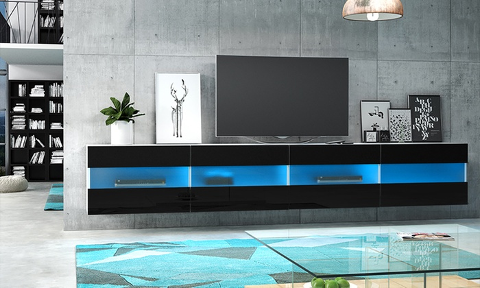 meuble tv brico led bleue groupon shopping. Black Bedroom Furniture Sets. Home Design Ideas