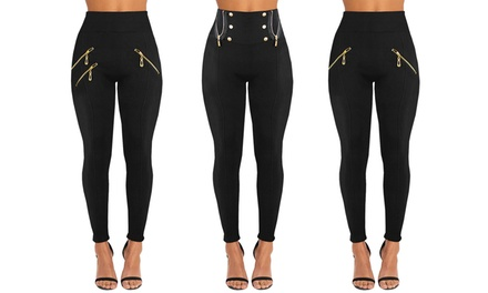TwoPack of Black FleeceLined Leggings with Zip Detail