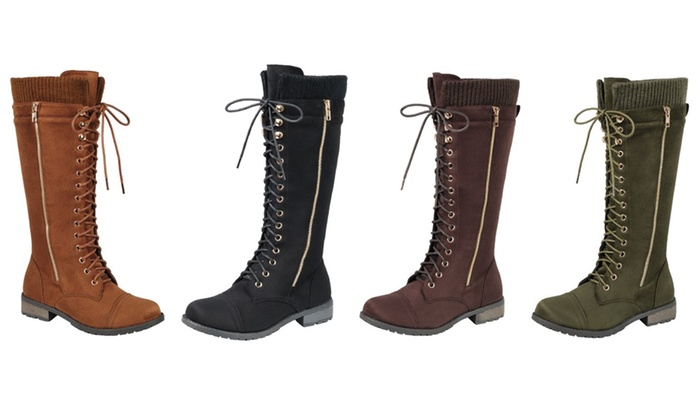 Mata Women's Lace-Up Zipper Combat Boots