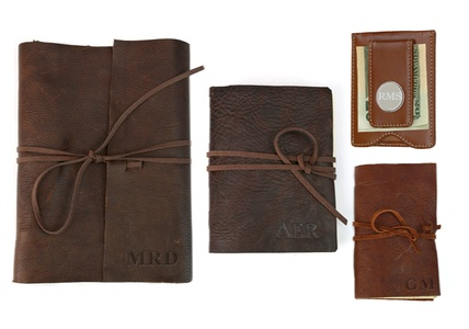 Custom Genuine Rustic Leather Wrap Journals and Money Clips from Monogram Online (Up to 83% Off)