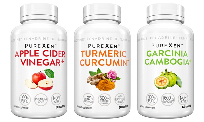 Purexen Apple Cider Vinegar Garcinia Cambogia And Tumeric Dietary Supplement Set 180 Count