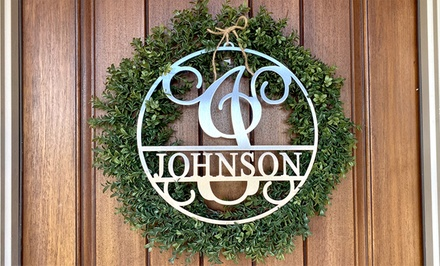 """One or Two 12"""" 15"""" or 20"""" Metal Circle Monograms with Name from Rusted Orange (Up to 76% Off)"""