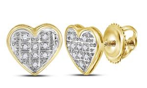 1/20 CTTW Diamond Heart Cluster Stud Earrings in 10K Gold by Sonneta
