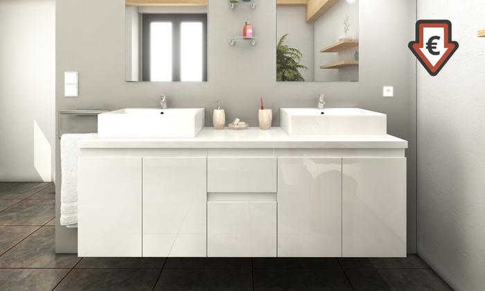 meubles de salle de bain finition laqu groupon shopping. Black Bedroom Furniture Sets. Home Design Ideas