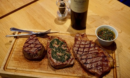 Argentine Steak Tasting Board with Sides, Sauce and Wine for Two or Four at Comedor Grill and Bar