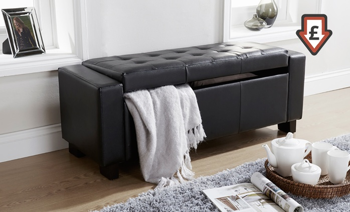 Verona Ottoman Storage Bench in Black or Brown for £59.98 With Free Delivery (57% Off)
