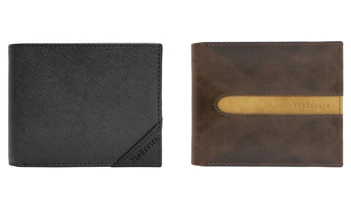 Van Heusen Men's Bifold Genuine Leather Wallets