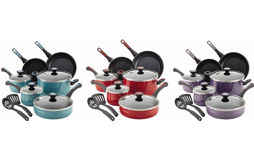 Gulf Blue Speckle Paula Deen Riverbend Aluminum Nonstick Cookware Set 12-Piece