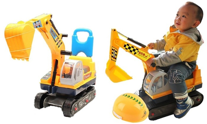 Kids' Two-in-One Ride-On Digger and Push Along Excavator with Hard Hat