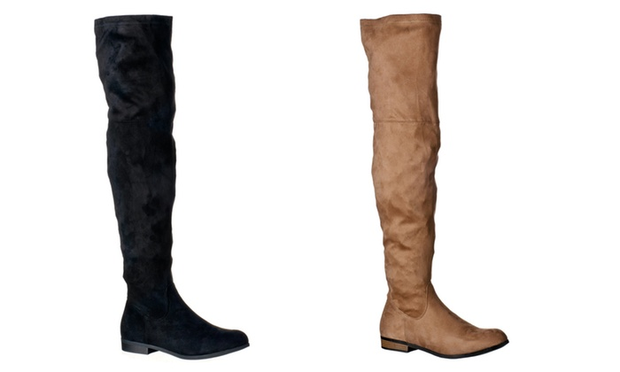 fb5be22f15197 Riverberry Women's Gina Thigh-High Faux Suede Boots | Groupon