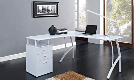 Three-Drawer Corner Computer Desk for £99.98 With Free Delivery (66% Off)