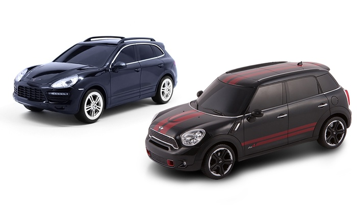 remote control 1 24 porsche cayenne or mini cooper cars groupon. Black Bedroom Furniture Sets. Home Design Ideas