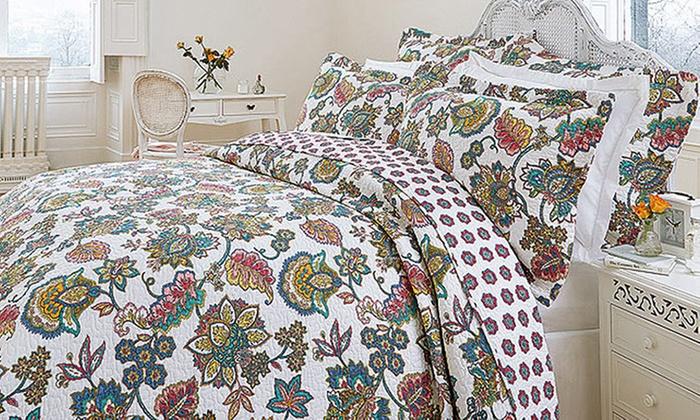 Indian Tree Quilted Reversible Bedspread Set from £18