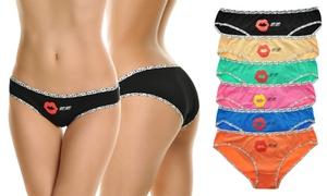 Cotton Leopard Trim Low-Rise Bikini Panties (6-Pack)
