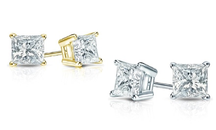 1.00 or 1.50 CTTW Princess-Cut Certified Diamond Stud Earrings in 14K White or Yellow Gold from $499.99–$699.99