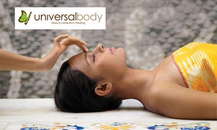 Pamper Pkg, Choice of 90-Min: 1 ($69) or 2 ($129) or 180-Min for 1 ($129) or 2 Ppl ($249) at Universal Body (Up to $634)