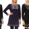 Plus-Size Embroidered Sweater Dress