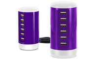Aduro PowerUp 6 USB Port 30W Smart Charging Tower (Purple or Blue)