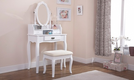 White Vintage-looking Dresser with Footstool for £99.98 With Free Delivery