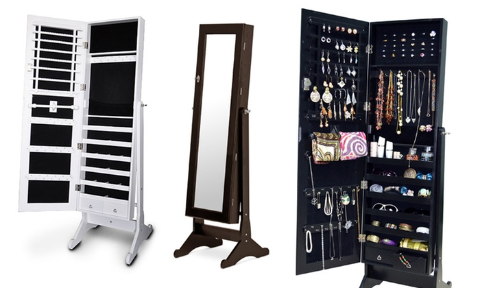 Wooden Mirrored Jewelry Cabinet Groupon Goods