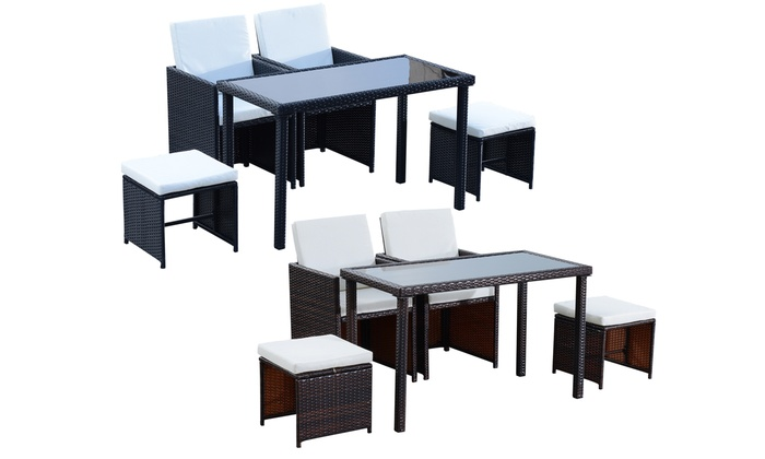 Outsunny PE-Rattan Five-Piece Dining Set from £184.99