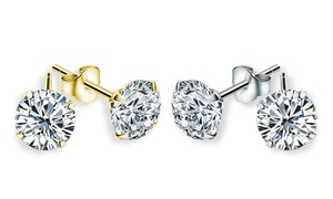 14kt Solid Gold Round Cubic Zirconia Stud Earrings by Dazzling Kiddos