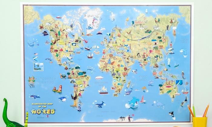 Kids illustrated world maps groupon goods kids illustrated world maps gumiabroncs Choice Image