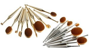 Metallic Oval Cosmetic Makeup Brush Set (10-Piece)