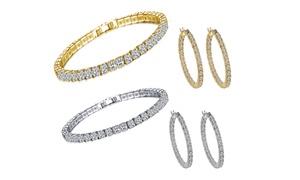 Parure Bijoux ornés de cristaux