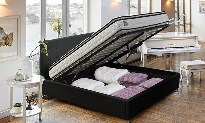 lit coffre simili cuir ou tissu groupon. Black Bedroom Furniture Sets. Home Design Ideas