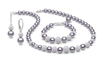 129,99 zł zamiast 1199 zł: 3-częściowy zestaw biżuterii Coccola w kolorze platinum ze stopniowanych pereł i kryształów