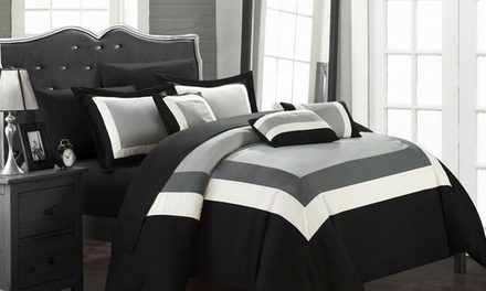 10-Piece Danny Color Block Comforter Set with Sheets Included