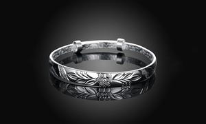 Women's Silver Plated Floral Ingrain Design Bangle