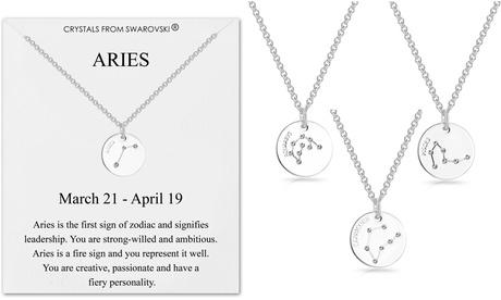philip jones zodiac disc necklace with crystals from swarovski®