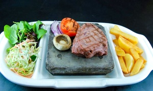 Olive Bar & Grill: Two-Course Steak Dinner for Two or Four with a Bottle of Wine to Share at Olive Bar & Grill (Up to 62% Off)