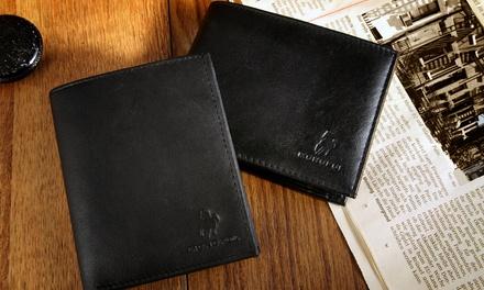 1x oder 2x Lammleder-Geldbörse für Herren in Schwarz im Querformat oder Hochformat