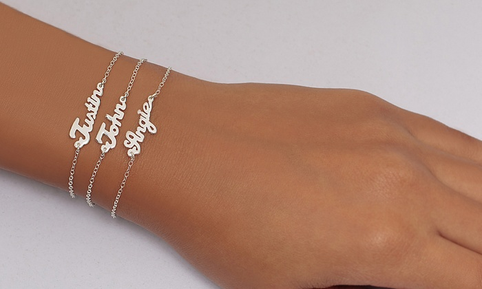 Monogramhub.com: One, Two, or Three Single-Name Sterling Silver Plated Mini Nameplate Bracelets from Monogram Hub