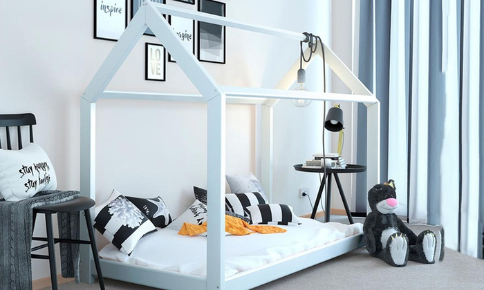 Tree House-Style Bed Frame with Optional 5'' Spring Mattress