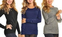 Women's Fleece-Lined Long-Sleeved Thermal Tops 3-Pack