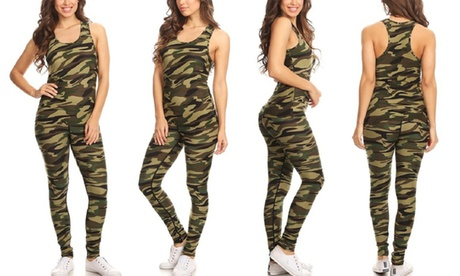 Women's Camouflage Tank and Leggings Set (2-Piece)