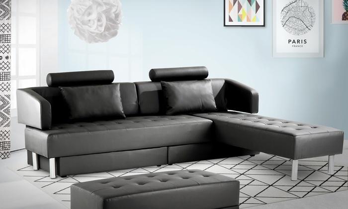 Grand Canapé Multifonction Groupon - Canapé avec pouf amovible