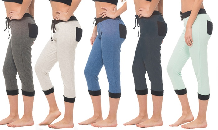 Coco Limon Women's Capri Joggers with Pockets. Plus Sizes Available.