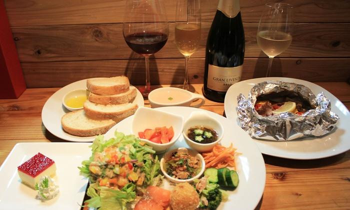3te' Cafe' - 大阪市中央区: 30%OFF【2,380円】スパークリングワインなど、野菜に合う厳選ワイン≪野菜たっぷりディナーコース+ワイン3種類90分飲み放題≫ @3te' Cafe