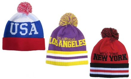 Martildo Unisex USA / UK Stars and Stripes Cities of America Bobble Pom Hat for £4