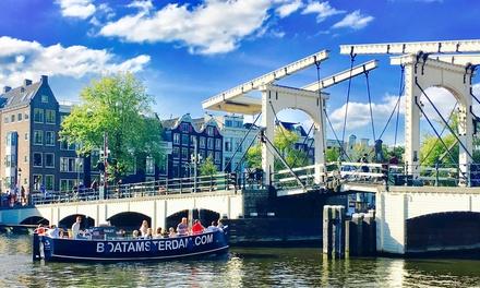 Rondvaart van 70 minuten inclusief bier, wijn en fris door de grachten met BoatAmsterdam