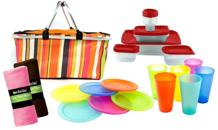 Picnic Set with Basket, Serveware, and Blankets (41-Piece)