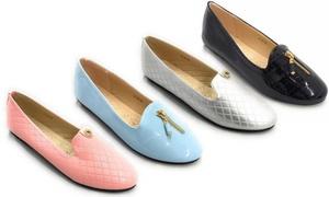 Women's Quilted or Croc-Textured Jennifer Flats
