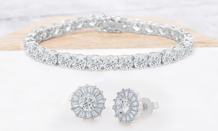 bc609b873 22 CTTW Tennis Bracelet and Burst Stud Earrings Set Made with Swarovski  Elements